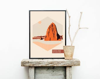 National Park Poster – Capitol Reef National Park - National Park Travel Poster - Hiking - Traveler Gifts Men – Vintage Poster - Minimalist