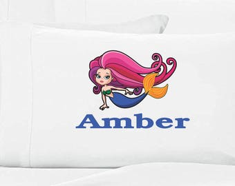 Girls Personalized Mermaid Pillow Case
