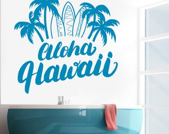 Wall Vinyl Decal Lettering Aloha Hawaii  Palm Surf Vacation Poster Decor (#2694dn)