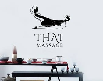 Thai Massage Vinyl Wall Decal Spa Relax Salon Room Decor Stickers Mural (#2561di)