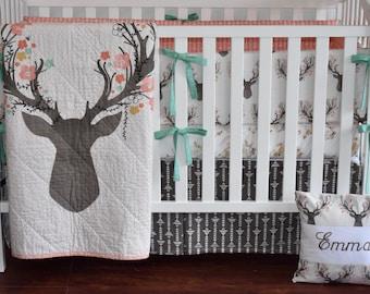 Large Deer Head  Crib Bedding,  baby girl, coral bedding, peach, coral and mint, deer head, going stag, floral antlers, fawn, doe