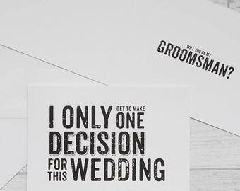Groomsman Usher Card - Quirky Groomsman Card -  Quirky Usher Card
