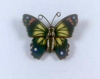 Enameled Butterfly Pin, Vintage Brooch, Gold Tone Pin, Green, Yellow, Orange Butterly with Antennae, Mid Century Jewelry, 1950s, Mid Century
