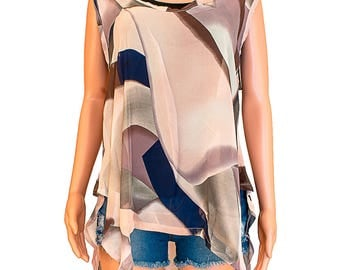 Colorful Print Sleeveless Flowy Blouse Shirt - Brown - Khaki