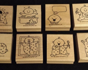 "2000 Stampin' Up! Stamp Set of 8, ""Baby Firsts"""
