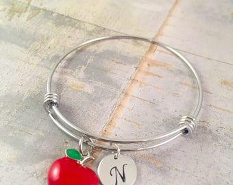 Teacher bracelet, Apple Bracelet, Teacher personalized bracelet, back to school teacher gift, teacher appreciation gift, Doctor gift, Nurse