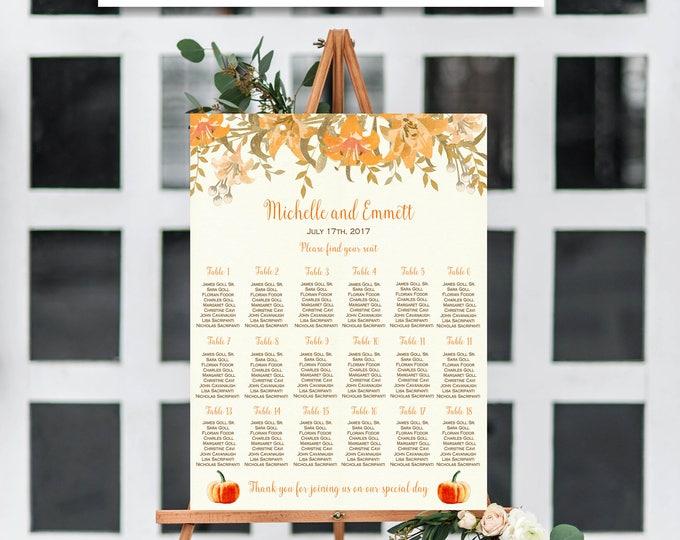 Fall Wedding Seating Chart Template, Personalized Wedding Seating Chart, Fall Wedding Seating Chart, Pumpkin Seating Chart Template, Pumpkin