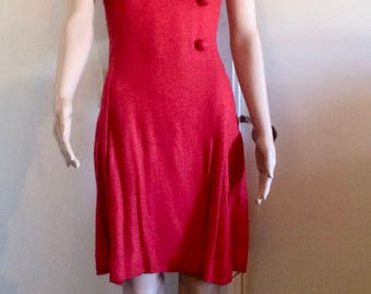 Red Linen Pleated 60's Dress Vintage