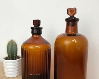 Apothecary Bottles | Vintage Bottles | Chemist Bottles | Amber Bottles | Brown Pharmacy Bottle | Collectible Glass Bottles |  Glass Bottles