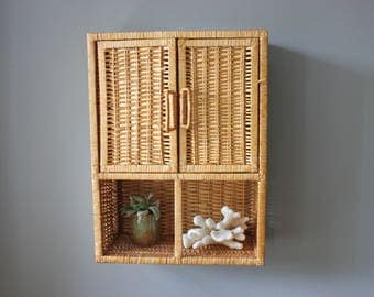 Wall Mounted Rattan Hutch Shelf Cabinet with Drawers