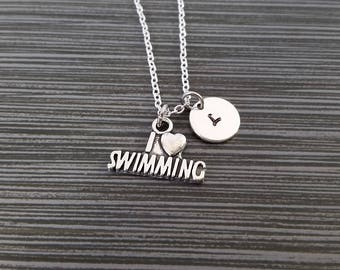 Silver Swimming Necklace - I Love Swimming Necklace - Personalized Necklace - Custom Gift - Swimmer Gift - Sports Necklace