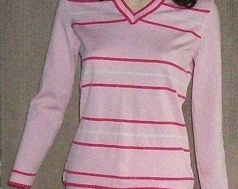 70s MOD Womens Pink White Striped Polyester Long Sleeve Pullover Top & Pants Coordinated Casual 2 Piece Outfit L