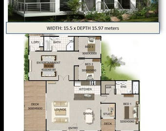 3 Bedroom + Study | on Poles or Stumps  |  Plans For Sale | 178 m2 -19.2 sq-1920 sq feet