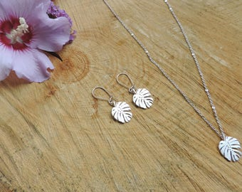 Tropical Leaf Necklace, exotic, summer, foliage, silver, nature, romantic