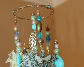 Origami Retro Vintage 50's Jewelry Aqua Pink Leaves And Beads Mobile