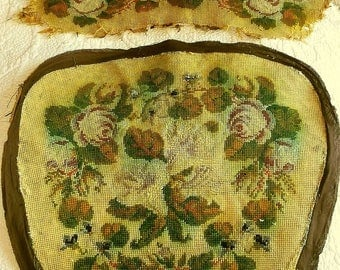 Antique Needlepoint Chair Pieces