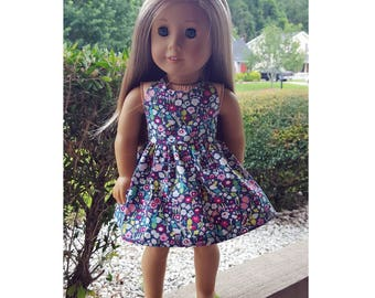 18 inch doll clothes - rainy skies floral dress