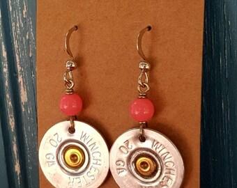 Shotgun shell earrings, pink shotgun shell earrings, bullet earrings, 20 gauge shotgun shell
