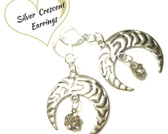 Large Etched Silver Crescent Moon Earrings, Stunning Crescent Earrings, On Trend Style Gift,Anytime Gift,Unique Gift,Trendy Gift