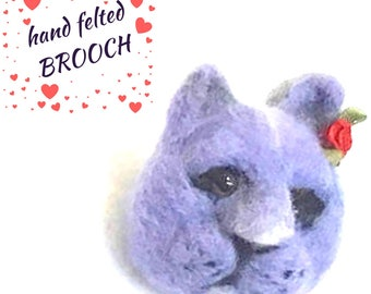 British blue Cat Brooch, Felted Brooch, Lapel Pin, 3 D Sculptured Brooch, Unique Original Brooch, Needle Felted Brooch, Unique Style gift