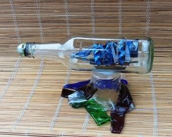 Galeon Barco antiguo Dentro Botella vidrio - Regalos Para Hombres - Coleccion Nautica - Decoracion Oficina Hombres -  Colecion de Barcos