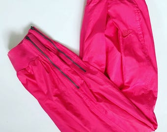 Vintage Nike Trainers / Sweatpants / Pants / Trousers / Large / L / Pink / Tracksuit / Track