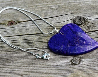 Purple and Blue Heart Agate Necklace ~ Crazy Lace Agate Stone ~ Stone Heart Pendant ~ Semi Precious ~ Healing Stone ~ One of a Kind