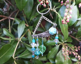 Aqua Rose Garden Fairy Wind Chime with Vintage Jewelry Pieces - Fairy Garden Accessory WC-26