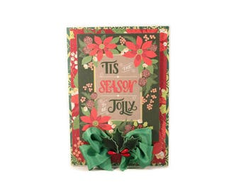Christmas Card, Holiday Card, Floral, Poinsettia, Handmade Card, Luxury Card, Host Gift, Christmas Gift, Tis The Season To Be Jolly