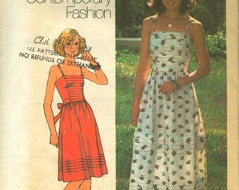 Simplicity 7543, Young Contemporary Fashion, Misses' Dress in Two Lengths, Vintage Sewing Patterns, Vintage Dress, Vintage Clothing Pattern