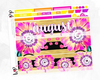 August Monthly Kit - Matte Glossy Erin Condren Monthly Planner Stickers