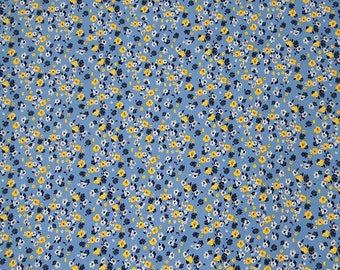 "Blue Poly Cotton Fabric, Floral Print, Dress Fabric, Quilting Fabric, Home Decor, Sewing Fabric, 56"" Inch Fabric By The Yard ZPC2A"