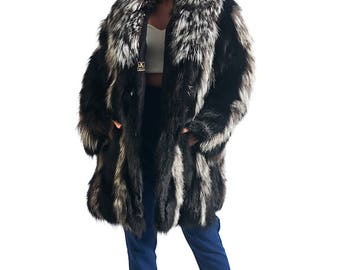 Luxury gift/ Fox Fur Coat Silver all sizes/ Priscilla