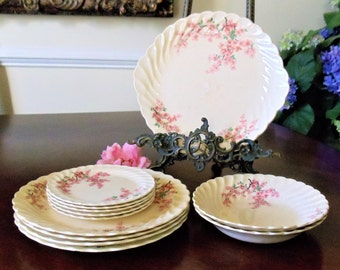 Vintage Royal China USA Apple Blossom 4 Person Dinner Set, National Brotherhood of Operative Potters Elegant Floral 12-Pieces Dinner Set