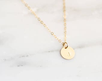 Gold Filled Initial Necklace / Tiny Initial Necklace Gold Filled / Dainty Gold Letter Necklace / Bridesmaid Necklace / Sterling Silver