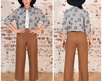 Gorgeous Brown Trousers / Womens Pants / 1980s/ Size 12