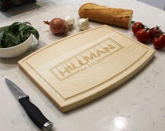 Personalized Cutting Board, Custom Cutting Board, Engraved Cutting Board, Cutting Board, Custom Wedding Gift --CBA-MAP-HILLMAN