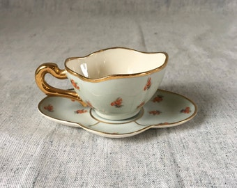 Vintage Leneige Porcelain Tea Cup, Light Blue, Gold Trimmed Cup and Saucer with Pink Roses