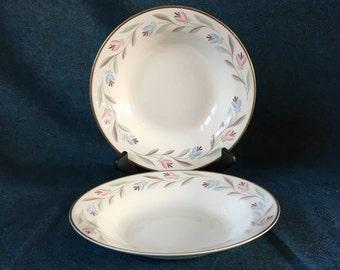 Vintage Eggshell Nautilus Nantucket Rimmed Soup Bowls, Set of 2, Homer Laughlin
