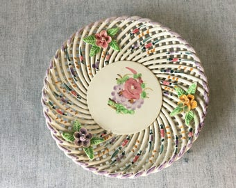 Vintage Woven Porcelain Bowl from Spain