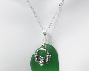 Claddagh Beach Glass Necklace, Claddagh Pendant, Green Ocean Glass, Recycled Glass Necklace, Sea Glass Pendant, Irish Necklace
