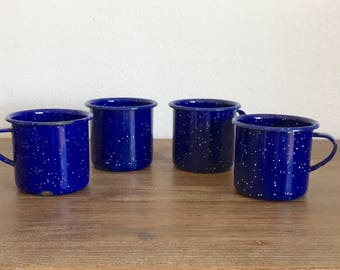 Vintage Blue Speckled Enamelware Cups; Blue Enamel Mugs; Camping Mugs; Vintage Enamel Coffee Cups; Speckled Enamelware; Metal Cups