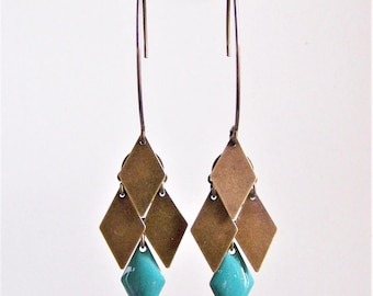 Cluster diamond earrings turquoise blue and bronze