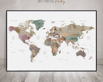 Large World Map Poster Detailed World Map Print Travel Map - Detailed world map