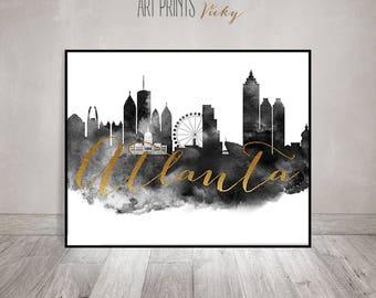 Atlanta poster, Wall art, Atlanta skyline print, black and white cityscape, Travel poster, Wall Decor, Art Print, Gift, ArtPrintsVicky