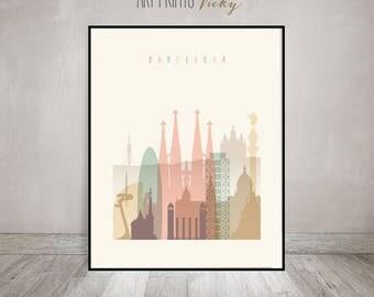 Barcelona Poster Pastel Vertical Skyline Art Print | ArtPrintsVicky.com