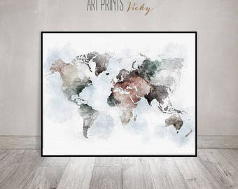World map wall art etsy world map wall art large world map poster travel gift world map conteporary gumiabroncs Gallery