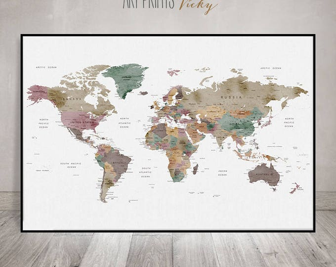 large world map wall art poster in earth colours | ArtPrintsVicky.com