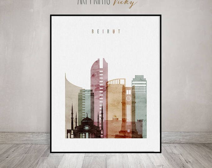 Beirut poster, Beirut print, Watercolour art print, Wall art, Beirut skyline, Lebanon, Travel decor, City poster, Home Decor, ArtPrintsVicky