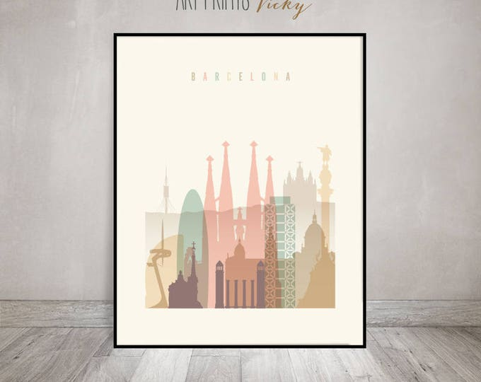 Barcelona print, Barcelona skyline poster, Wall art, Travel decor, Spain, City poster, Travel gift, Home Decor, Digital Print ArtPrintsVicky
